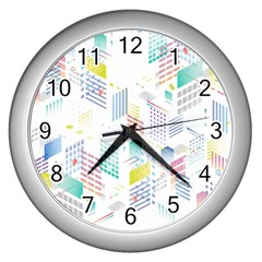 Layer Capital City Building Wall Clocks (silver)  by Mariart