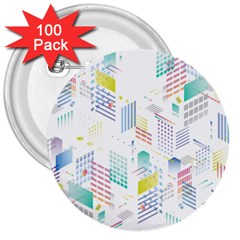 Layer Capital City Building 3  Buttons (100 Pack)  by Mariart