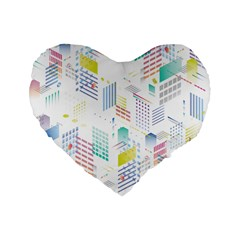 Layer Capital City Building Standard 16  Premium Heart Shape Cushions by Mariart