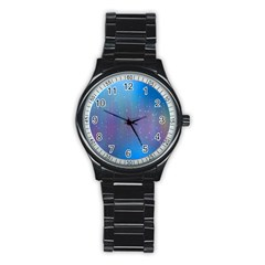 Rain Star Planet Galaxy Blue Sky Purple Blue Stainless Steel Round Watch by Mariart