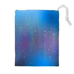 Rain Star Planet Galaxy Blue Sky Purple Blue Drawstring Pouches (extra Large) by Mariart