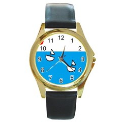 Ship Sea Beack Sun Blue Sky White Water Round Gold Metal Watch by Mariart