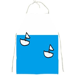 Ship Sea Beack Sun Blue Sky White Water Full Print Aprons by Mariart