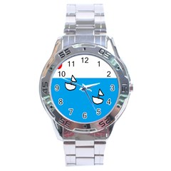 Ship Sea Beack Sun Blue Sky White Water Stainless Steel Analogue Watch by Mariart
