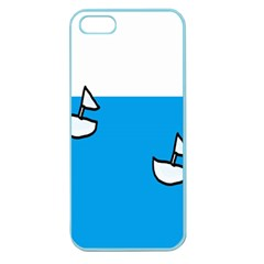 Ship Sea Beack Sun Blue Sky White Water Apple Seamless Iphone 5 Case (color) by Mariart