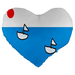 Ship Sea Beack Sun Blue Sky White Water Large 19  Premium Heart Shape Cushions by Mariart