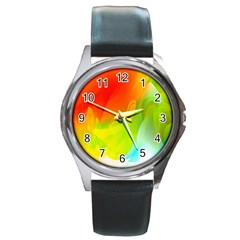 Red Yellow Green Blue Rainbow Color Mix Round Metal Watch by Mariart
