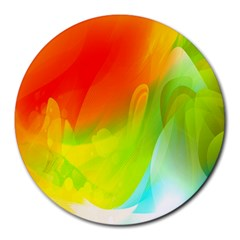 Red Yellow Green Blue Rainbow Color Mix Round Mousepads
