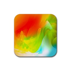 Red Yellow Green Blue Rainbow Color Mix Rubber Square Coaster (4 Pack)  by Mariart