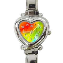 Red Yellow Green Blue Rainbow Color Mix Heart Italian Charm Watch by Mariart