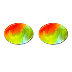 Red Yellow Green Blue Rainbow Color Mix Cufflinks (oval) by Mariart
