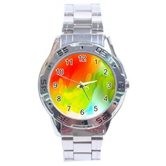 Red Yellow Green Blue Rainbow Color Mix Stainless Steel Analogue Watch by Mariart