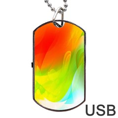 Red Yellow Green Blue Rainbow Color Mix Dog Tag Usb Flash (one Side) by Mariart