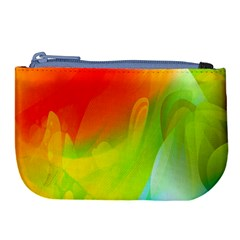 Red Yellow Green Blue Rainbow Color Mix Large Coin Purse by Mariart