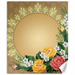 Rose Sunflower Star Floral Flower Frame Green Leaf Canvas 8  X 10  by Mariart
