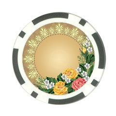 Rose Sunflower Star Floral Flower Frame Green Leaf Poker Chip Card Guard by Mariart