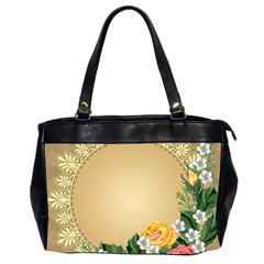 Rose Sunflower Star Floral Flower Frame Green Leaf Office Handbags (2 Sides)  by Mariart