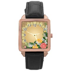Rose Sunflower Star Floral Flower Frame Green Leaf Rose Gold Leather Watch  by Mariart
