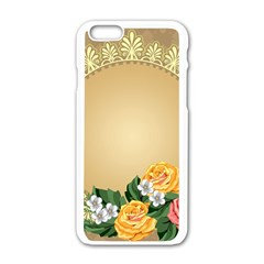 Rose Sunflower Star Floral Flower Frame Green Leaf Apple Iphone 6/6s White Enamel Case by Mariart