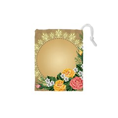 Rose Sunflower Star Floral Flower Frame Green Leaf Drawstring Pouches (xs)  by Mariart