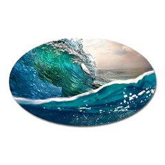 Sea Wave Waves Beach Water Blue Sky Oval Magnet by Mariart