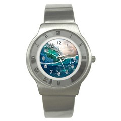 Sea Wave Waves Beach Water Blue Sky Stainless Steel Watch by Mariart