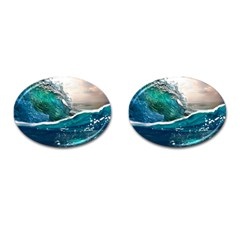 Sea Wave Waves Beach Water Blue Sky Cufflinks (oval) by Mariart