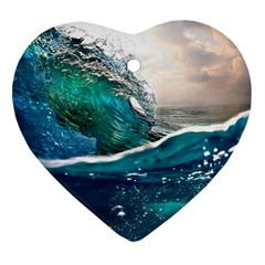 Sea Wave Waves Beach Water Blue Sky Heart Ornament (two Sides) by Mariart