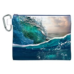 Sea Wave Waves Beach Water Blue Sky Canvas Cosmetic Bag (xxl) by Mariart