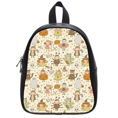 Sinister Helloween Cat Pumkin Bat Ghost Polka Dots Vampire Bone Skull School Bag (small) by Mariart