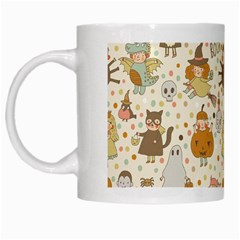 Sinister Helloween Cat Pumkin Bat Ghost Polka Dots Vampire Bone Skull White Mugs by Mariart