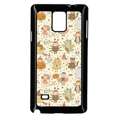 Sinister Helloween Cat Pumkin Bat Ghost Polka Dots Vampire Bone Skull Samsung Galaxy Note 4 Case (black)