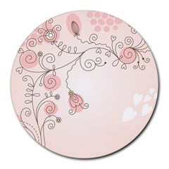 Simple Flower Polka Dots Pink Round Mousepads by Mariart