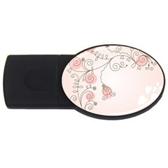 Simple Flower Polka Dots Pink Usb Flash Drive Oval (4 Gb) by Mariart