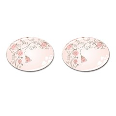 Simple Flower Polka Dots Pink Cufflinks (oval) by Mariart