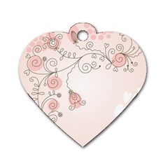 Simple Flower Polka Dots Pink Dog Tag Heart (one Side) by Mariart