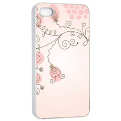 Simple Flower Polka Dots Pink Apple Iphone 4/4s Seamless Case (white) by Mariart