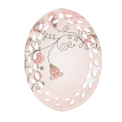 Simple Flower Polka Dots Pink Oval Filigree Ornament (two Sides) by Mariart