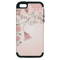 Simple Flower Polka Dots Pink Apple Iphone 5 Hardshell Case (pc+silicone) by Mariart