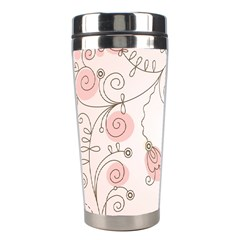 Simple Flower Polka Dots Pink Stainless Steel Travel Tumblers by Mariart