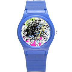 Spot Paint Pink Black Green Yellow Blue Sexy Round Plastic Sport Watch (s) by Mariart