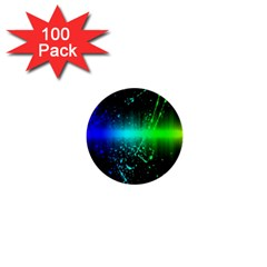 Space Galaxy Green Blue Black Spot Light Neon Rainbow 1  Mini Buttons (100 Pack)  by Mariart