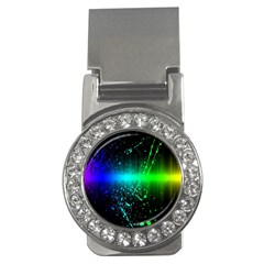 Space Galaxy Green Blue Black Spot Light Neon Rainbow Money Clips (cz)  by Mariart