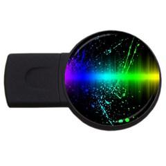 Space Galaxy Green Blue Black Spot Light Neon Rainbow Usb Flash Drive Round (4 Gb) by Mariart