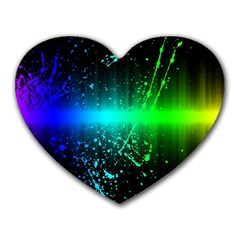 Space Galaxy Green Blue Black Spot Light Neon Rainbow Heart Mousepads by Mariart