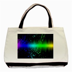 Space Galaxy Green Blue Black Spot Light Neon Rainbow Basic Tote Bag (two Sides) by Mariart