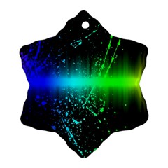Space Galaxy Green Blue Black Spot Light Neon Rainbow Snowflake Ornament (two Sides) by Mariart