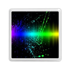 Space Galaxy Green Blue Black Spot Light Neon Rainbow Memory Card Reader (square)  by Mariart