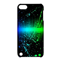 Space Galaxy Green Blue Black Spot Light Neon Rainbow Apple Ipod Touch 5 Hardshell Case With Stand by Mariart