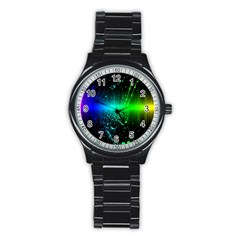 Space Galaxy Green Blue Black Spot Light Neon Rainbow Stainless Steel Round Watch by Mariart
